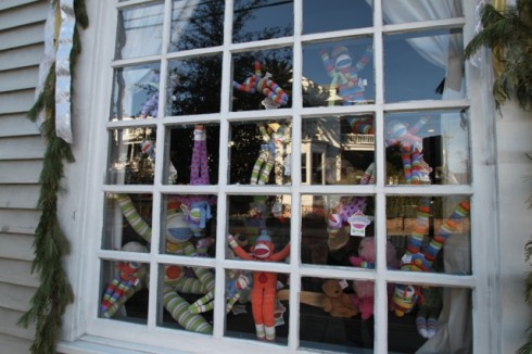 WEb sock monkeys in window