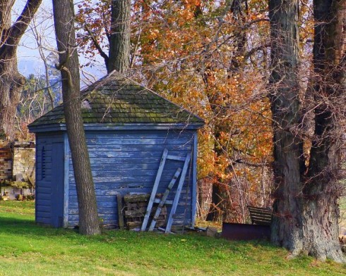 colorful blue shed